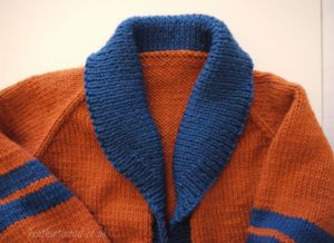 Gramps cardigan in Berocco Vintage. Blue and orange. All done save the buttons.