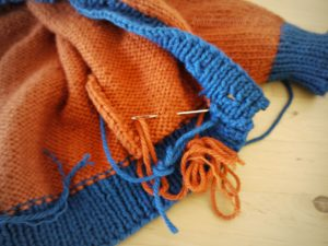 Gramps blue rust in progress. Seams to be sewn.