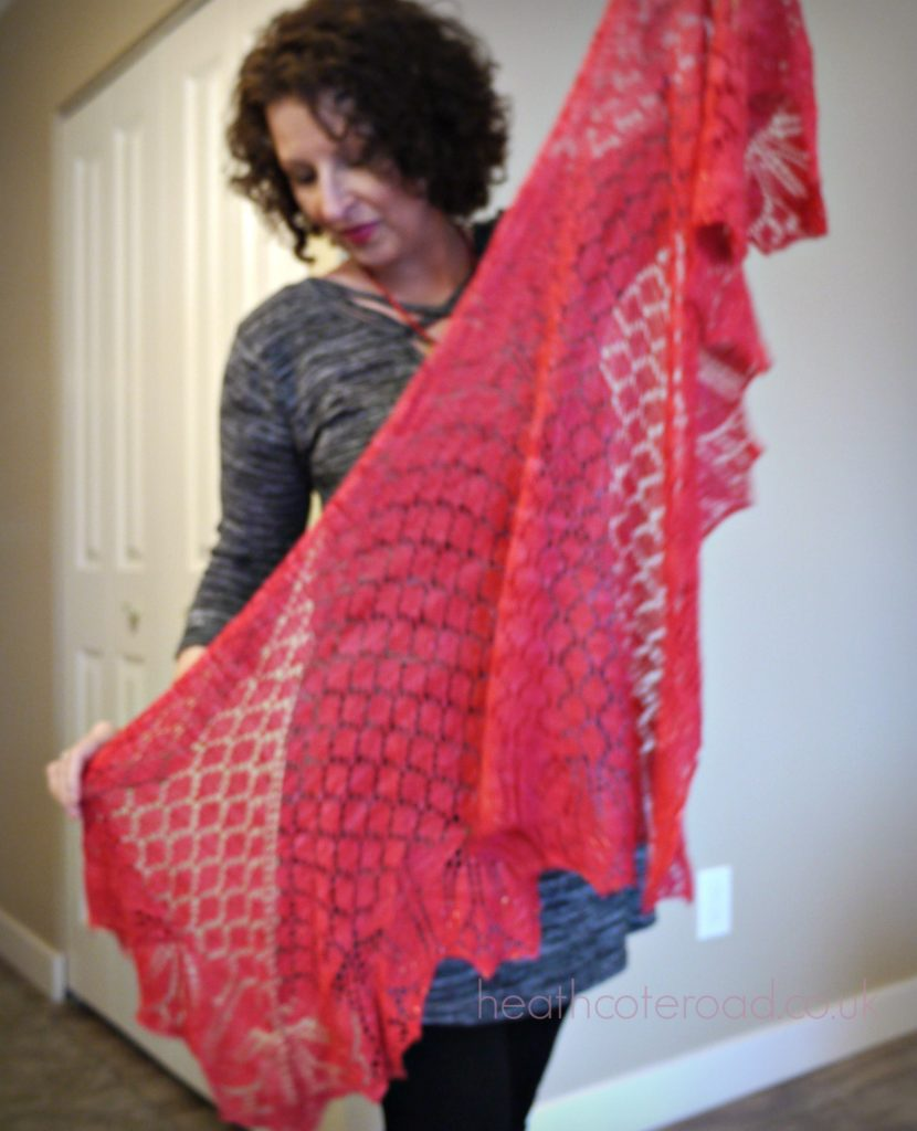 Orchid Thief shawl, in coral silk and wool.
